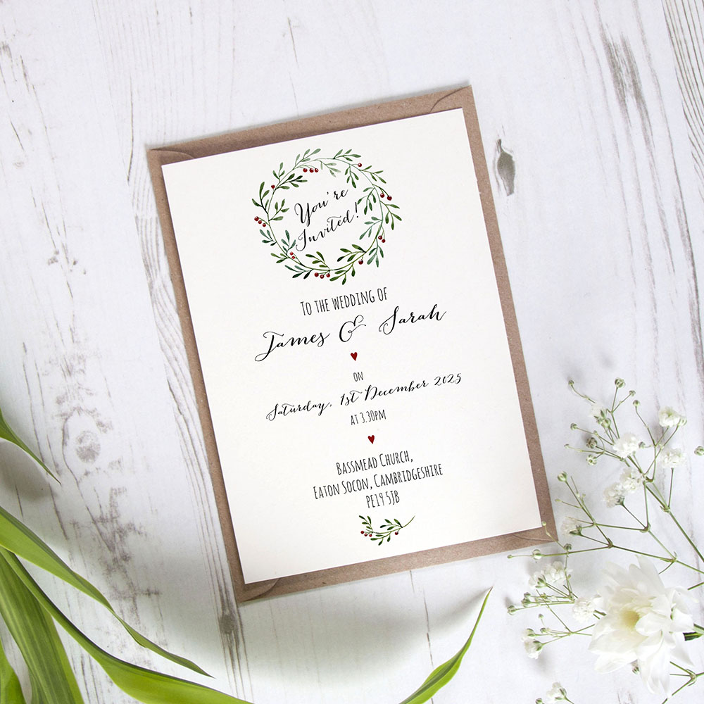 'Christmas' Standard Wedding Invitation Sample