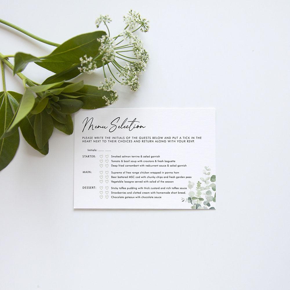 'Classic Eucalyptus' Standard Wedding Invitation