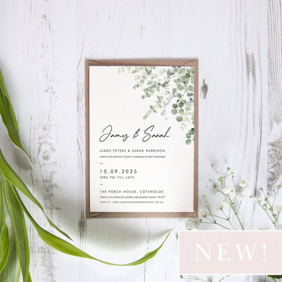 'Classic Eucalyptus' Standard Wedding Invitation Sample
