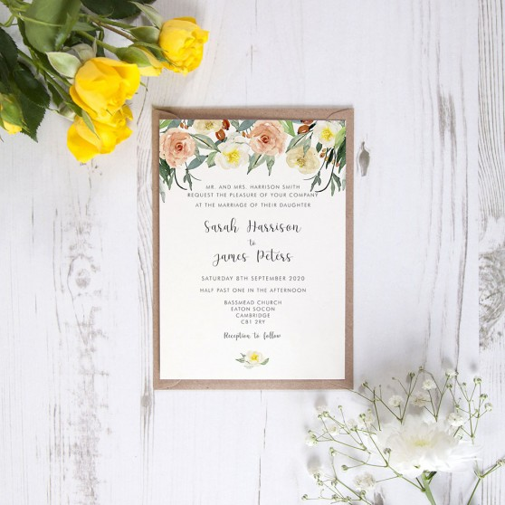 'Dahlia Rose' Standard Wedding Invitation