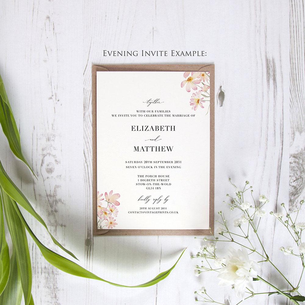 'Daisy Pink' Standard Wedding Invitation Sample