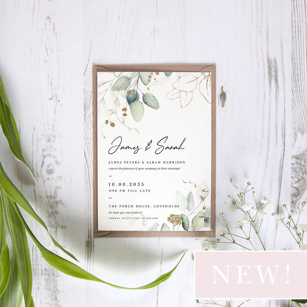 'Green & Gold Eucalyptus' Standard Wedding Invitation Sample