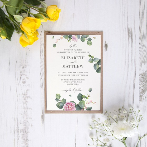 'Eucalyptus Blush' Standard Invite Sample