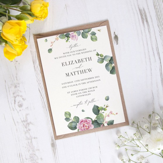 'Eucalyptus Blush' Standard Wedding Invitation