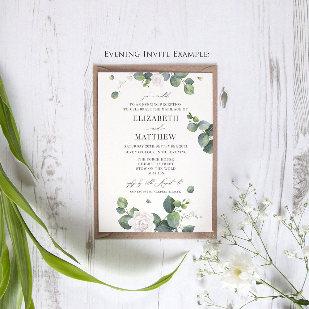 'Eucalyptus White' Standard Wedding Invitation