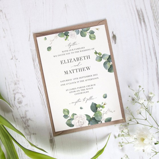 'Eucalyptus White' Standard Wedding Invitation