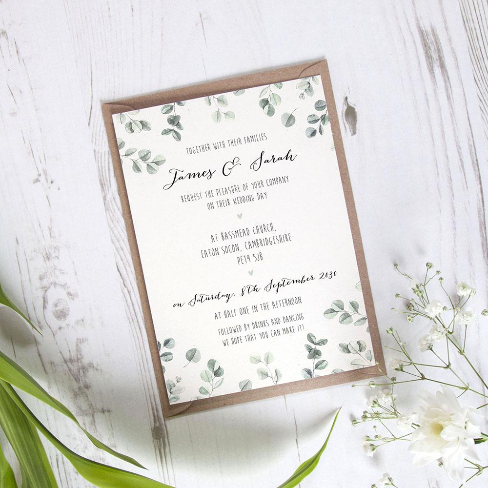 'Eucalyptus' Standard Wedding Invitation Sample