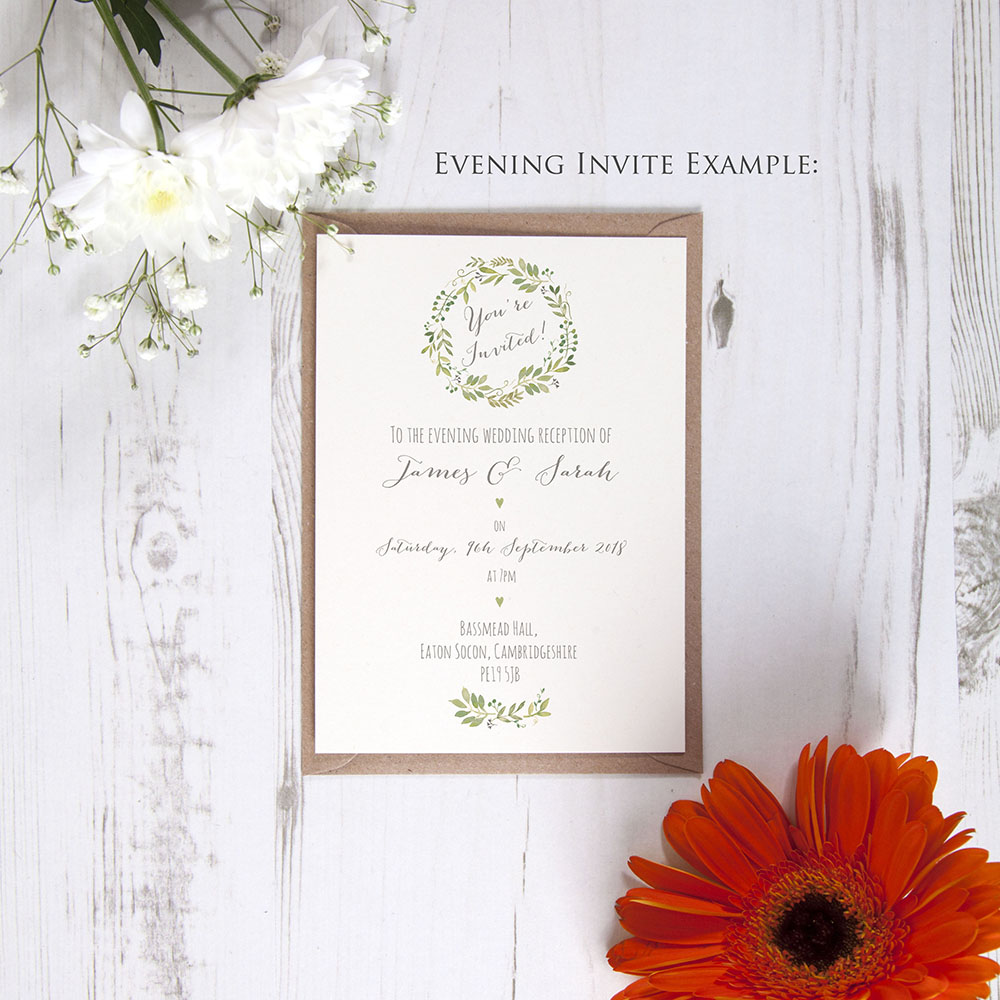 'Green Floral Watercolour' Standard Invite Only Sample