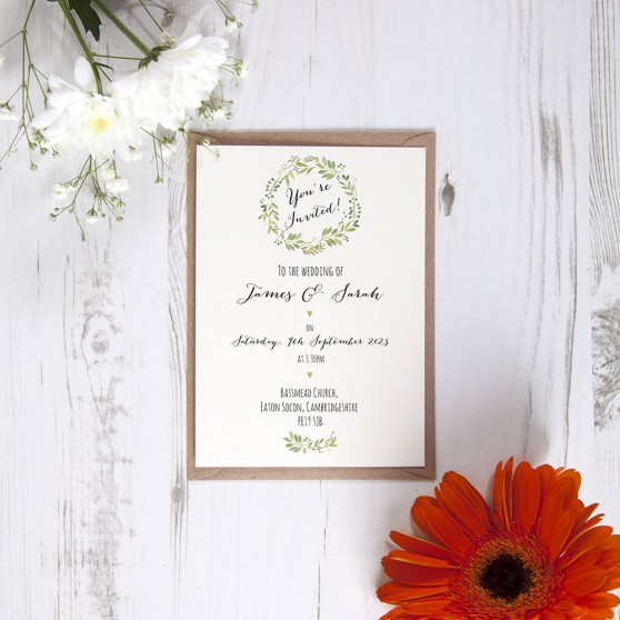 'Green Floral Watercolour' Standard Wedding Invitation