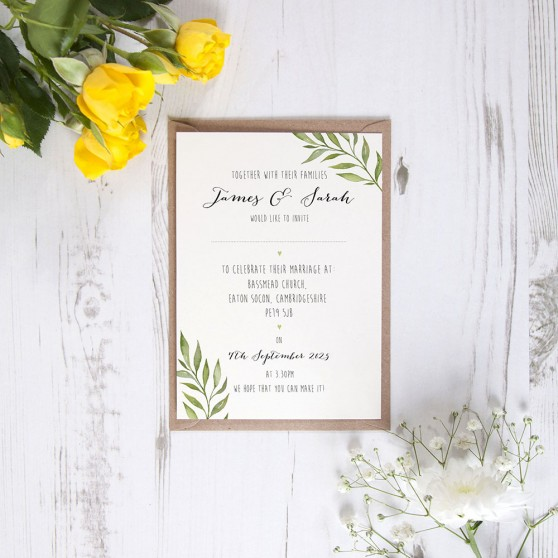 'Green Leaf' Standard Invite Sample