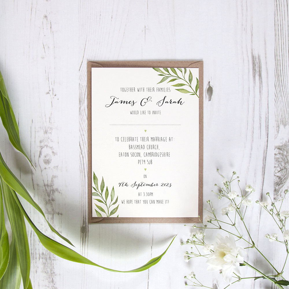 'Green Leaf' Standard Wedding Invitation