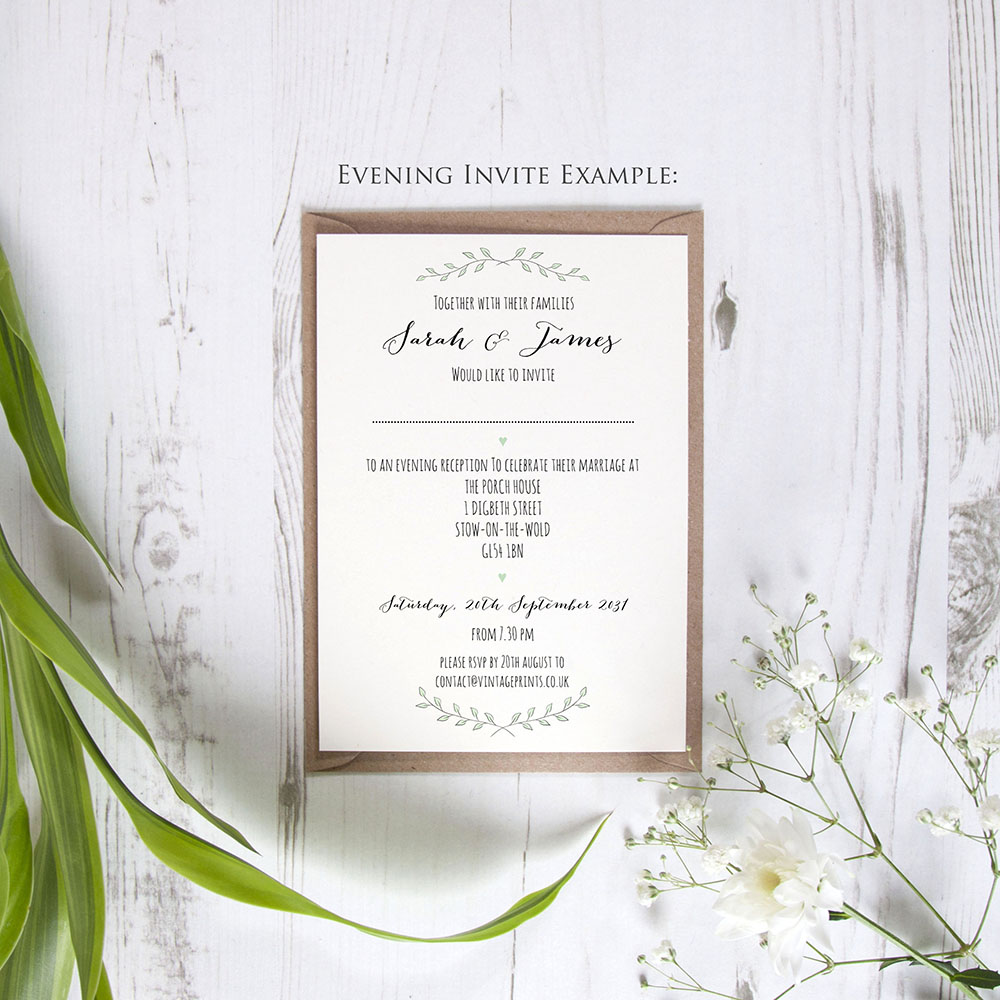 'Green Plant' Hole-punched Invite