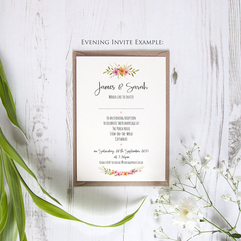 'Multi Floral Watercolour' Standard Invite Only