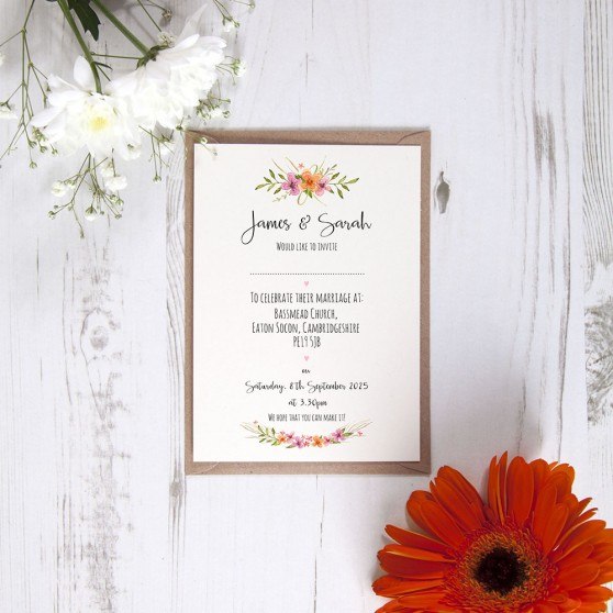 'Multi Floral Watercolour' Standard Invite Sample