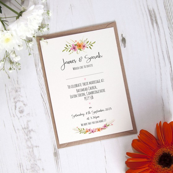 'Multi Floral Watercolour' Standard Invite