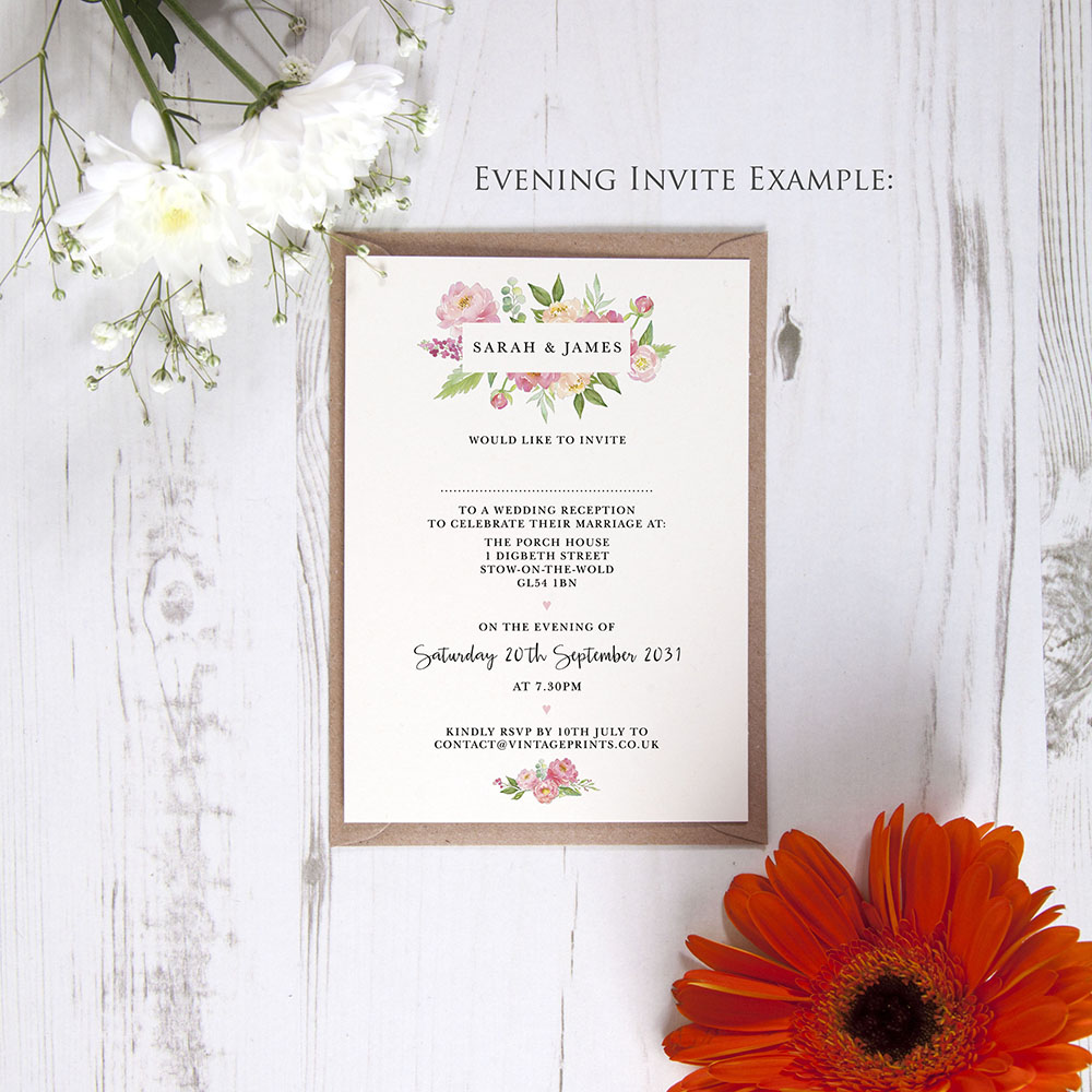'Peony' Standard Invite
