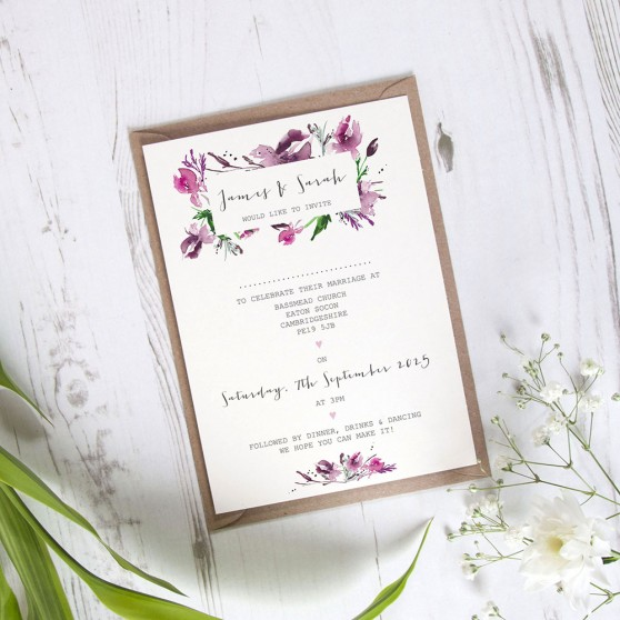 'Pink Iris' Standard Invite Sample