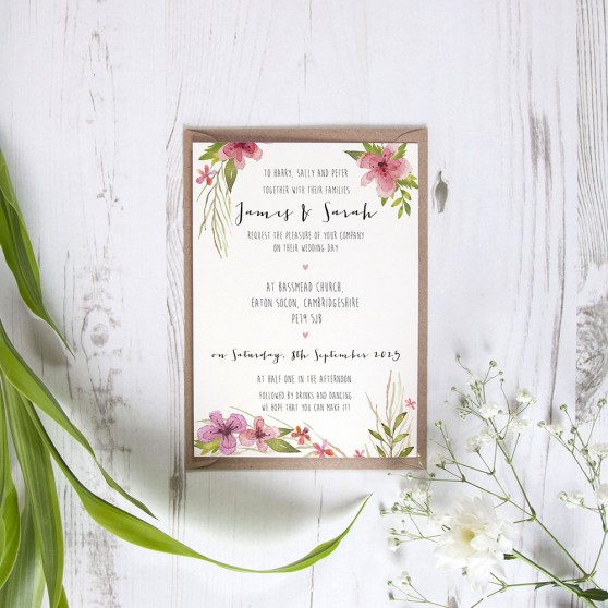 'Pretty in Pink' Standard Invite Sample