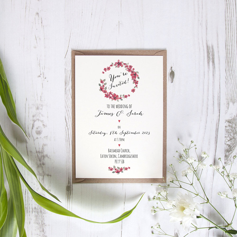 'Red Floral Watercolour' Standard Invite Only