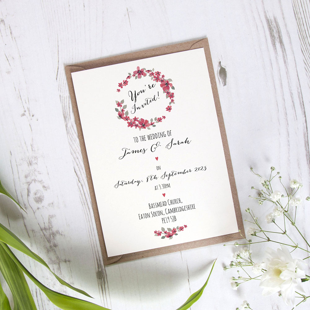 'Red Floral Watercolour' Standard Invite