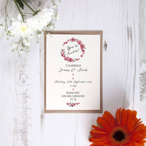 'Red Floral Watercolour' Standard Invite Only Sample