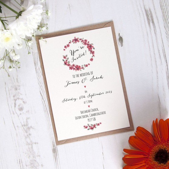 'Red Floral Watercolour' Standard Invite Sample