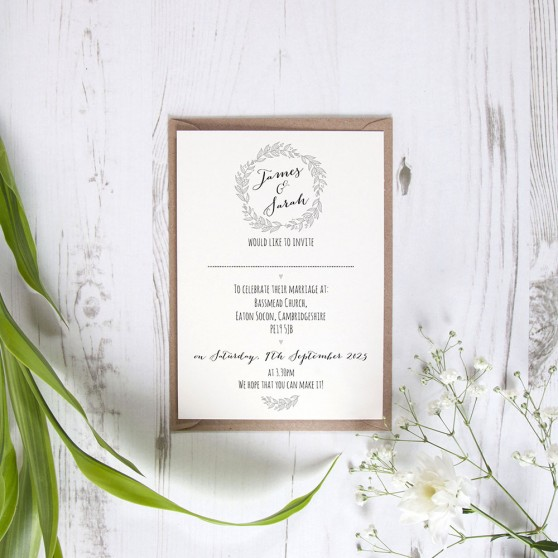 'Silver Grey Wreath' Standard Invite