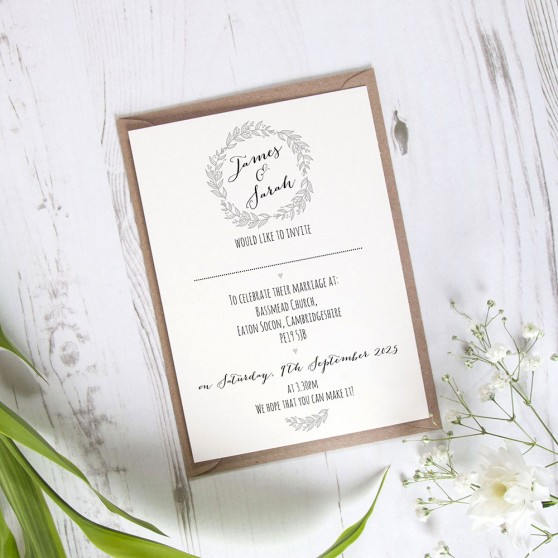 'Silver Grey Wreath' Standard Invite Sample