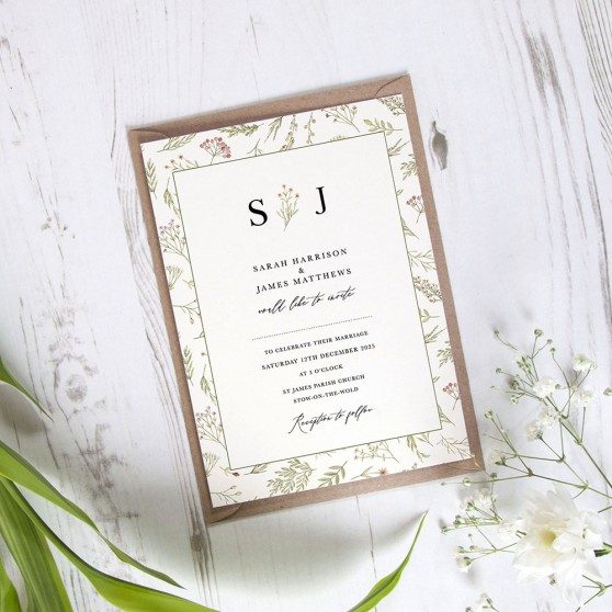 'Woodland Floral' Standard Invite Sample