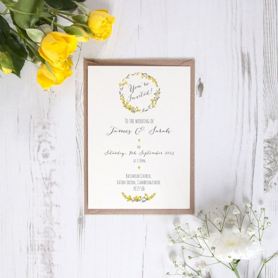 'Yellow Floral Watercolour' Standard Invite Sample