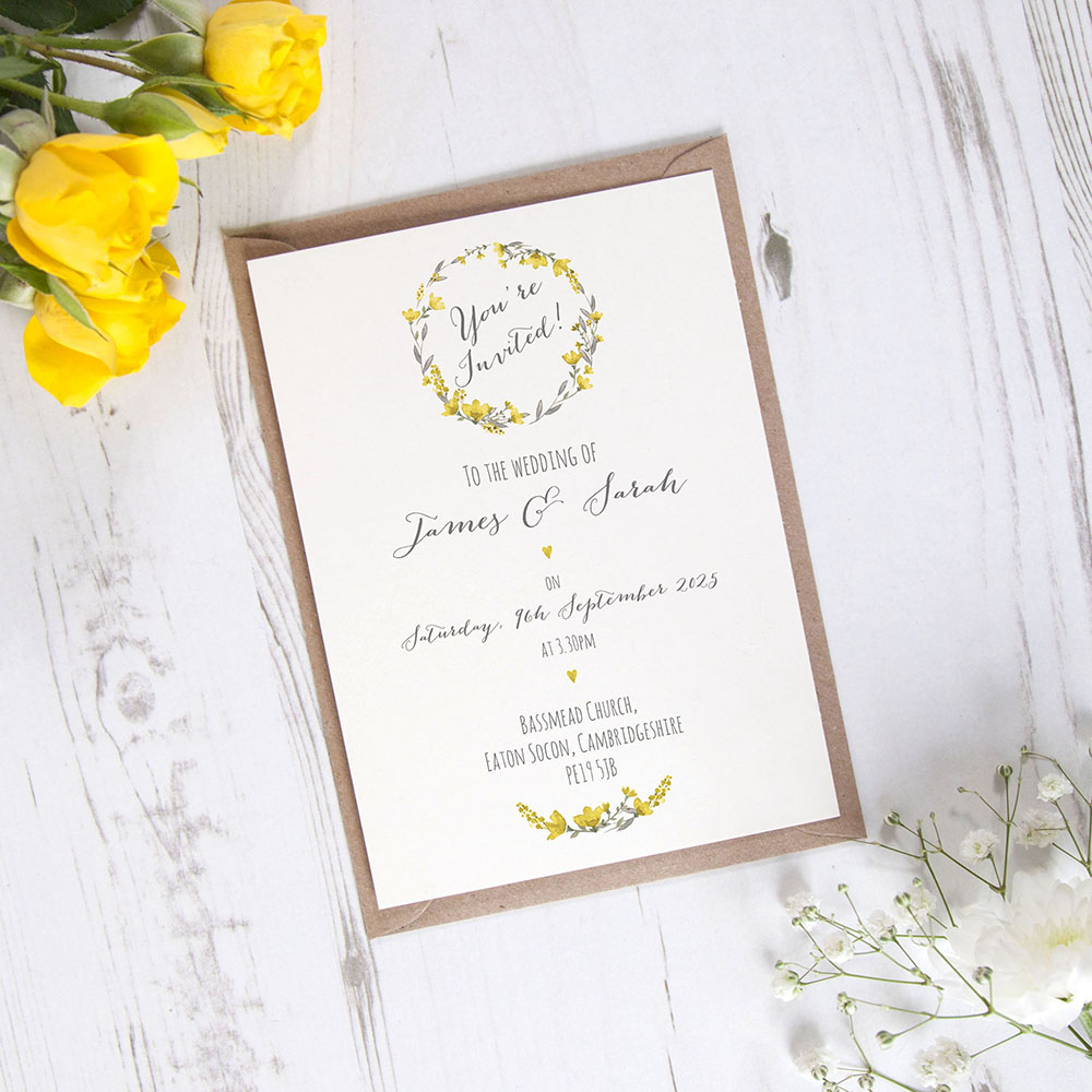 'Yellow Floral Watercolour' Standard Invite Sample
