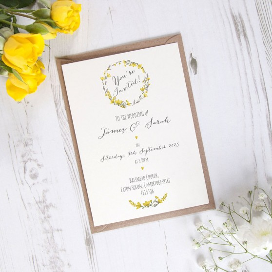 'Yellow Floral Watercolour' Standard Invite