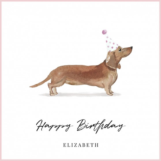 Happy Birthday Dachshund Pink - B103