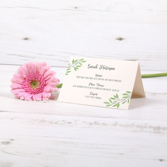 'Autumn Green' Menu Place Card