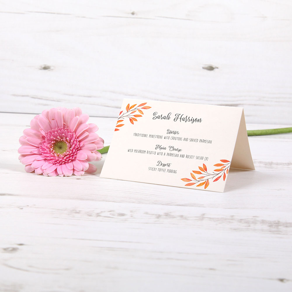'Autumn Orange' Menu Place Card