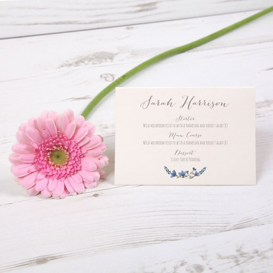 'Blue Floral Watercolour' Menu Place Card