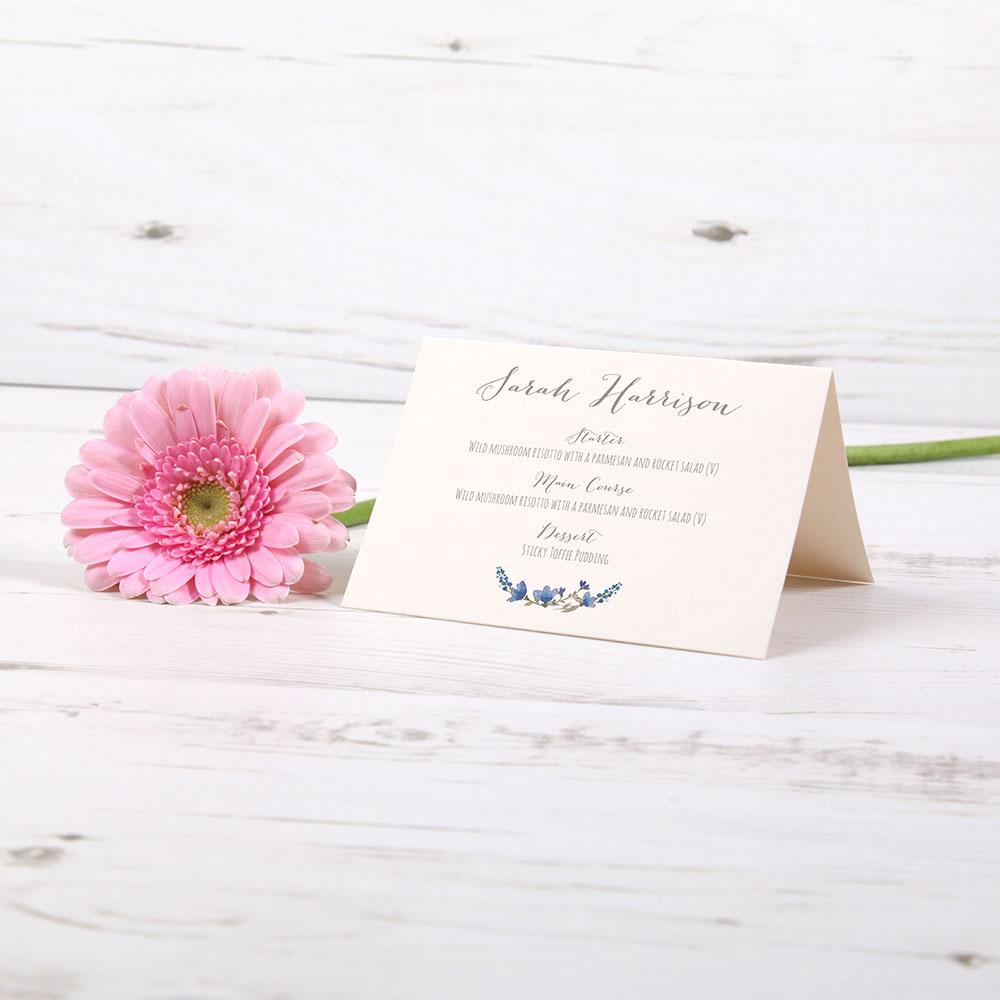 'Blue Floral Watercolour' Menu Place Card