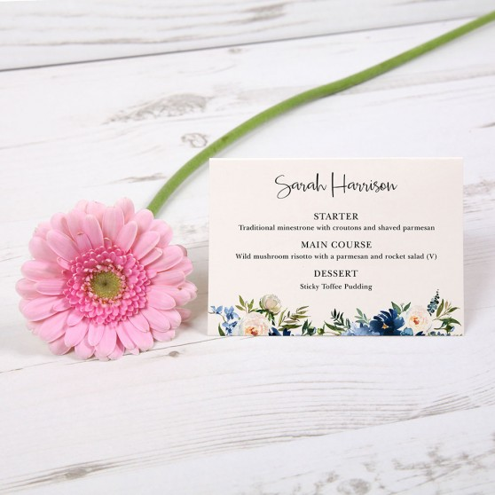 'Blue Velvet' Menu Place Card