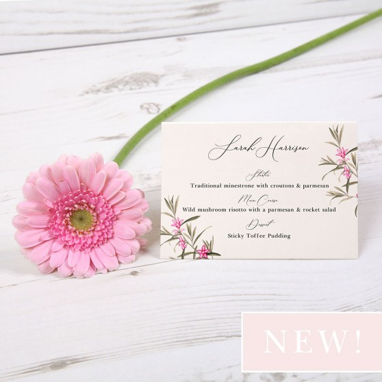 'Pink Botanical' Menu Place Card