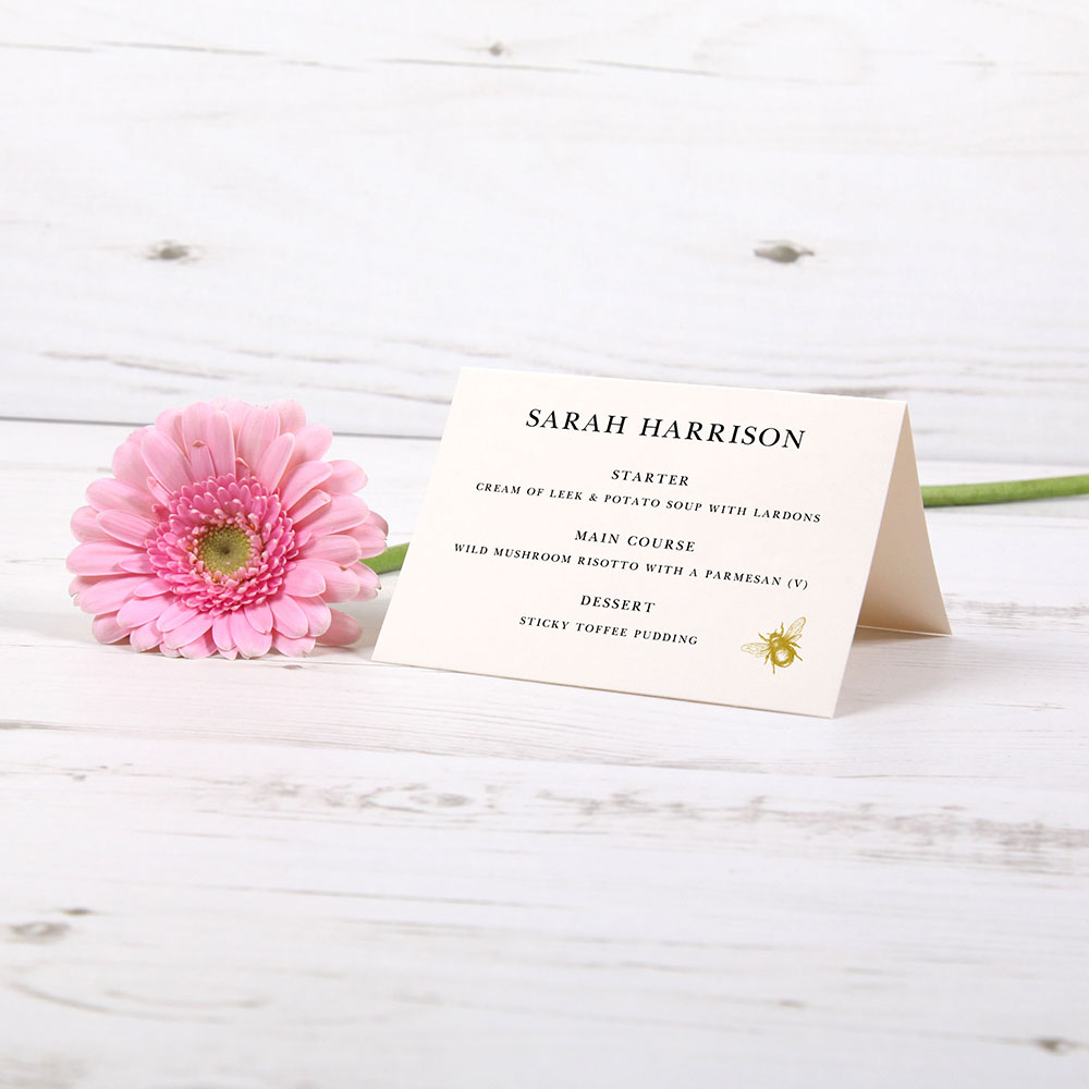 'Bumble Bee' Menu Place Card