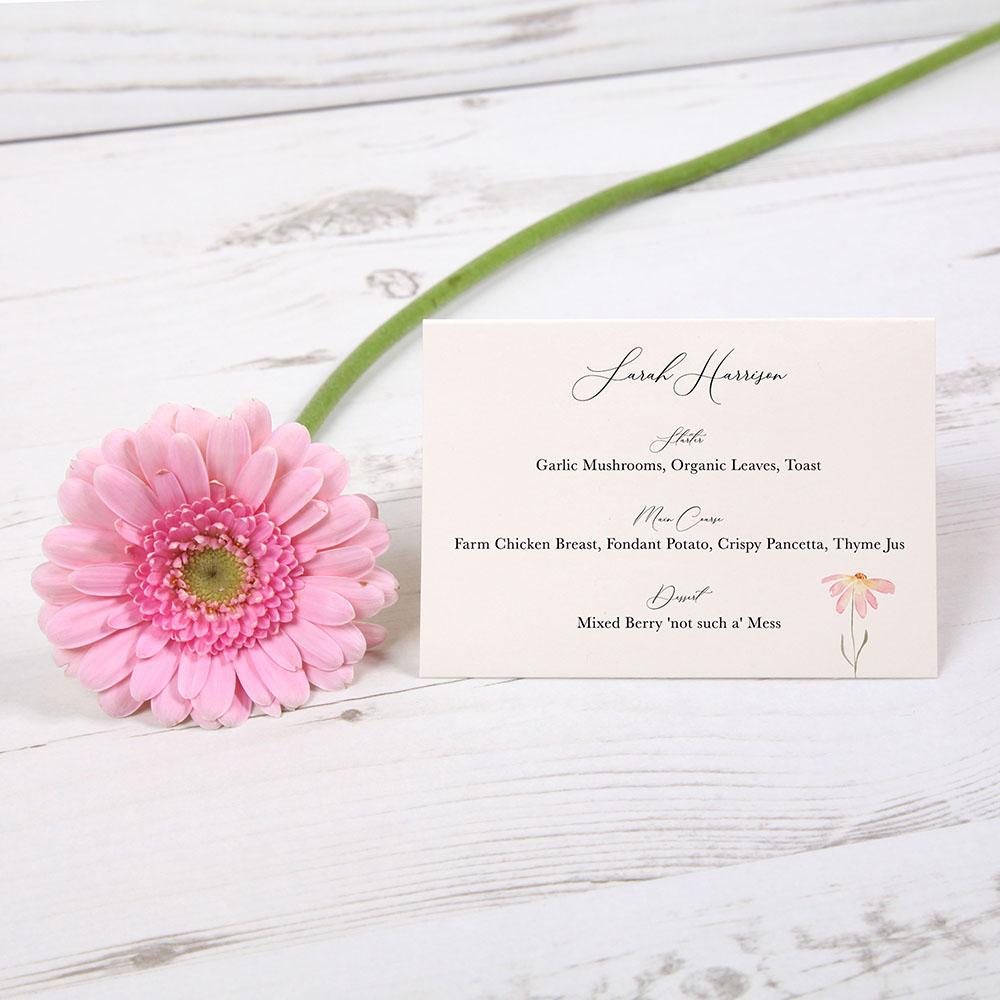 'Daisy Pink' Menu Place Card