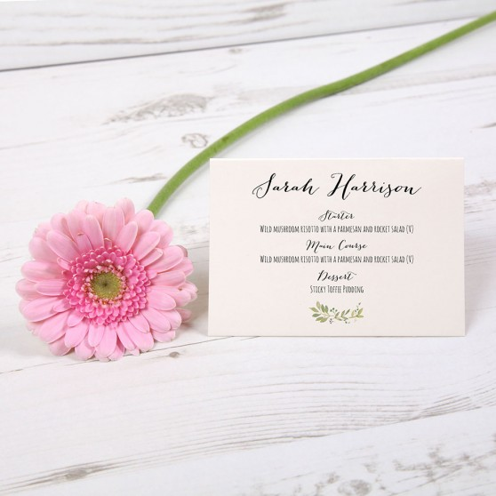 'Green Floral Watercolour' Menu Place Card