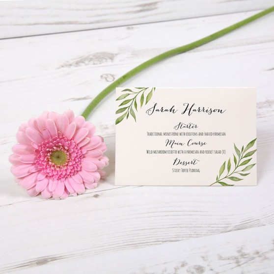 'Green Leaf' Menu Place Card