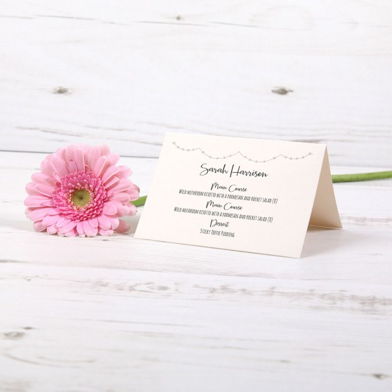 'Grey Heart Bunting' Menu Place Card