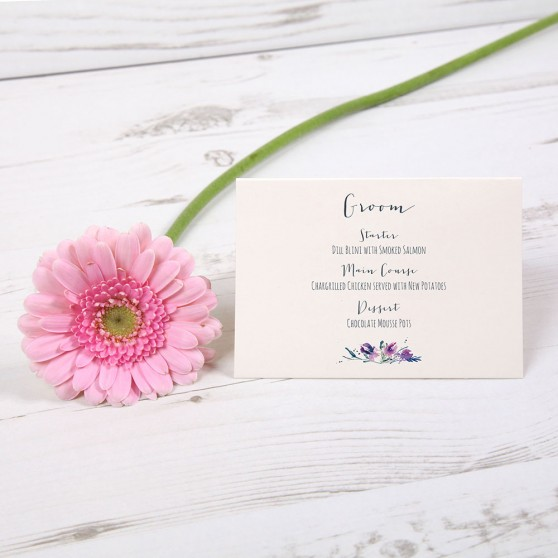 'Midnight Iris' Menu Place Card