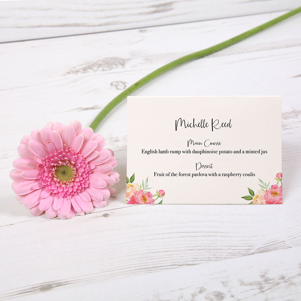'Peony' Menu Place Card
