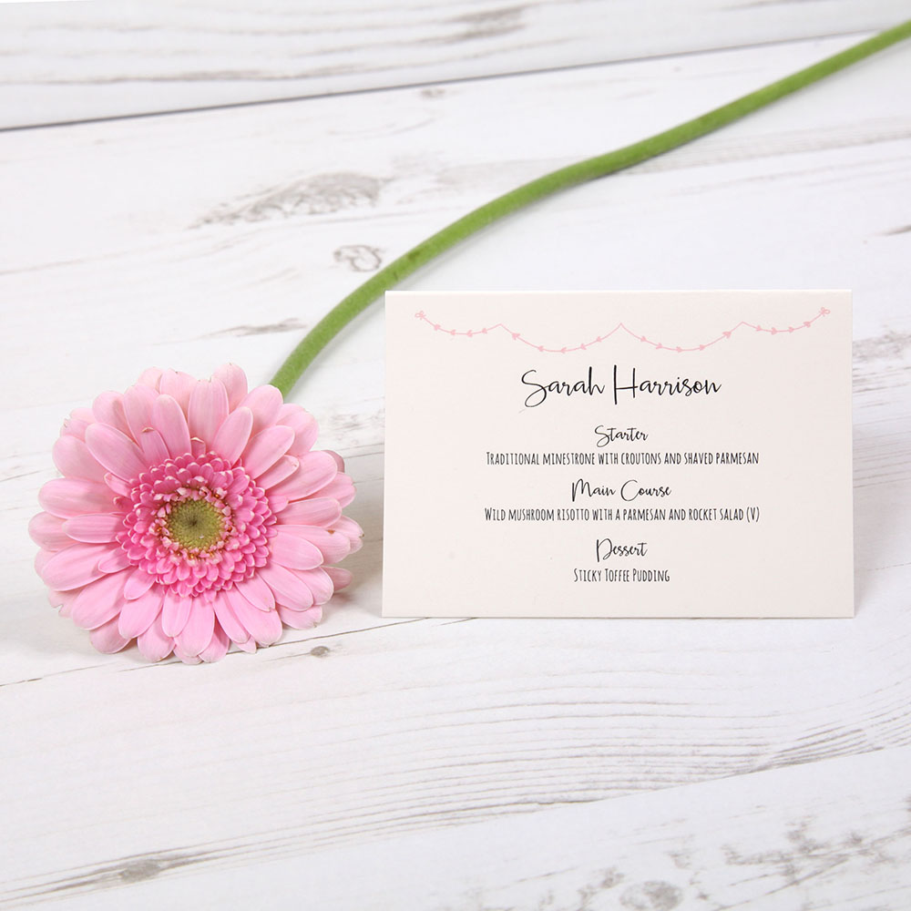 'Pink Heart Bunting' Menu Place Card