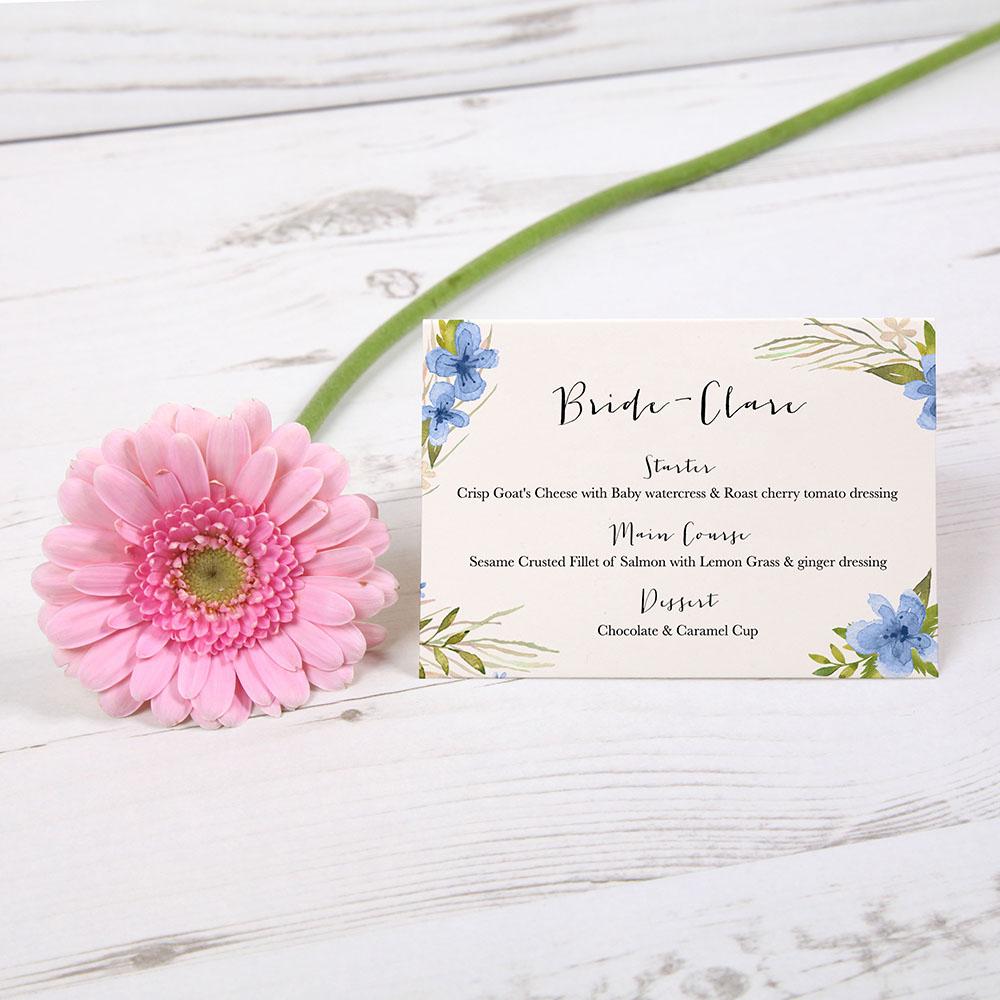 'Pretty in Blue' Menu Place Card