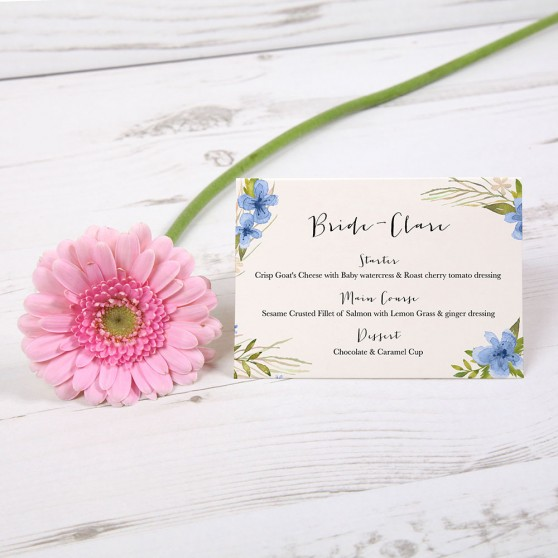'Pretty in Blue' Menu Place Card