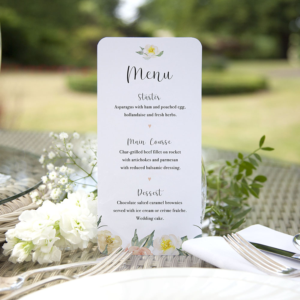 'Dahlia Rose' Slim Menu